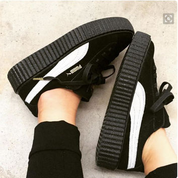 PUMA Women Casual Running Sport Shoes Sneakers Black white
