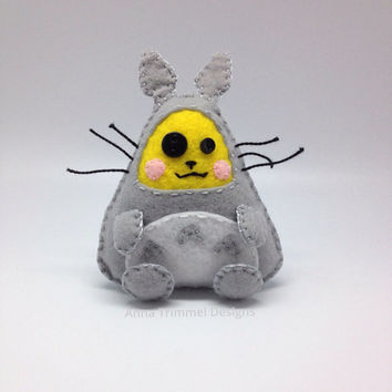 Pikachu dressed as Totoro handmade in felt decorative toy