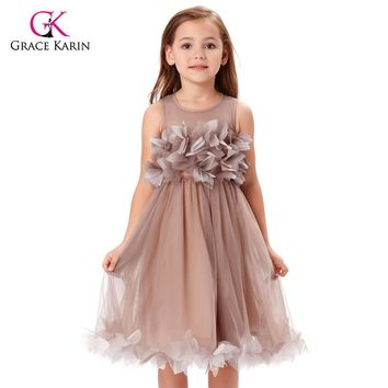 Grace Karin Khaki Tulle Flower Girl Dresses Princess Lace Communion Dresses Evening Gowns Kids Pageant Formal Wear Party Dresses