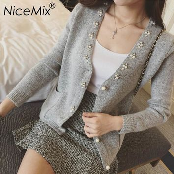NiceMix 2018 Winter Elegant Cardigan Women Crystal Pearl Beading Slim Knitting Cardigans Pull Femme Casual Autumn Sweaters Coat