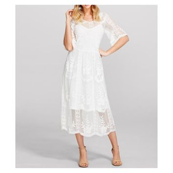 White 3/4 Sleeve Floral Lace Overlay Midi Dress