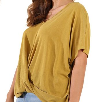 Umgee Ribbed Cupro V-Neck Plus Size Top Goldenrod