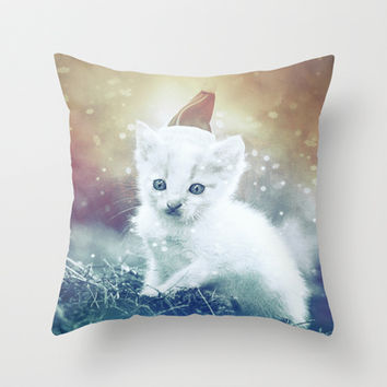 Christmas kitty Throw Pillow by SensualPatterns