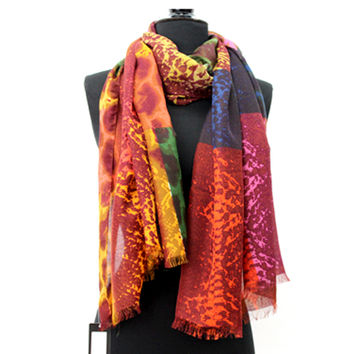 Snake Print Scarf-Red Multicolor
