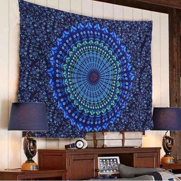 Boho Hippie Mandala Blue Tapestry Bedspread,  Beach Throw, Yoga Mat,  Home Decor 150*130c Polyester