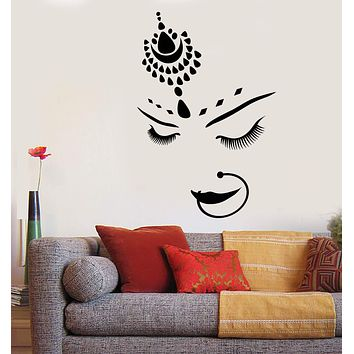 Vinyl Wall Decal India Hindu Bride Girl Beautiful Face Piercing Stickers Unique Gift (1804ig)