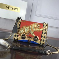 DCCK 007 Versace Leather printed Tiger single room ladies bag 24-7-16cm Red Yellow