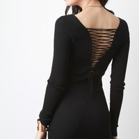 Corset Lace Back Long Sleeve Dress