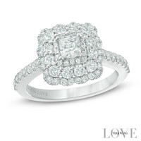 Vera Wang LOVE Collection 1-1/5 CT. T.W. Princess-Cut Diamond Scallop Frame Engagement Ring in 14K White Gold - View All Rings - Zales