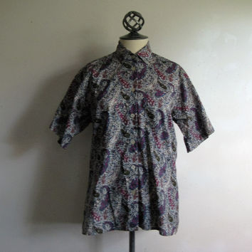 Vintage 1990s Liberty of London Shirt Tilley Endurables Floral Cotton Summer Blouse XS