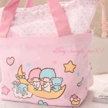 Sanrio Little Twin Stars Lunch Box Bento Food Containers Drawstring Bag HandBag