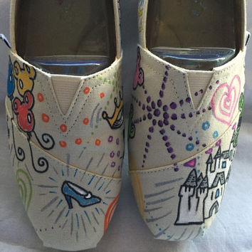 Disney doodles inspired hand painted shoes