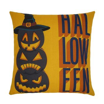 Happy Halloween Pillow Cases  Linen Sofa Letter Cushion
