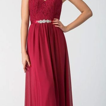 Starbox USA L6145 Lace Sweetheart Neckline Burgundy Chiffon A-Line Bridesmaids Gown Strapless