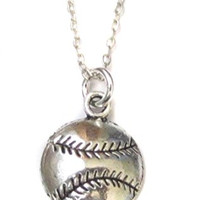 "Baseball Softball Charm, Silver Finished Necklace, 18"" with 1"" Extender, Sports Jewelry Gift"