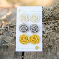 Large Rose Mustard Yellow, Cream, Grey Stud Earrings Perfect For Bridesmaid Gifts Or Bridal Jewelry | Luulla