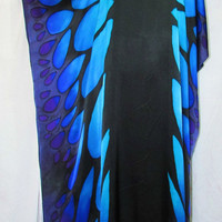 butterfly silk caftan, silk tunic, silk dress, resort wear, beach cover up, festival wear, formal wear, OOAK silk dress