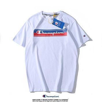 Champion new tide brand rainbow letter printing couple models round neck short-sleeved T-shirt white