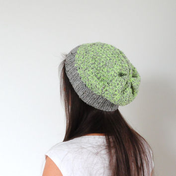 Neon Tweed Hat, Knit Tweed Hat, Neon Yellow Beanie Hat
