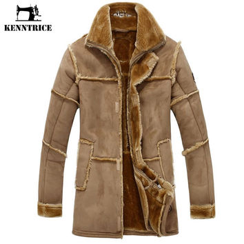 Patchwork Leather Jackets Men Faux Fur Coat e Coat Military Leather Jacket Luxury Thick Warm Long Suede Jacket
