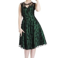 Women's Flocked Floral Overlay Flair Dress