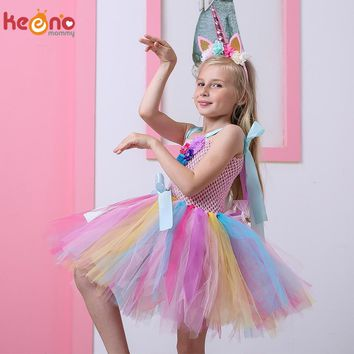 Kids Girls Unicorn Tutu Dress with Headband Knee-Length Pastel Rainbow Flower Girl Dress Kids Halloween Pageant Party Costume