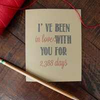 Days I've been in love with you Rustic Kraft Anniversary Card // Valentine // Valentine's Day Card // Greeting Card // Stationery Stationary