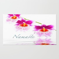 Namasta White And Pink Orchids Rug by Daphsam