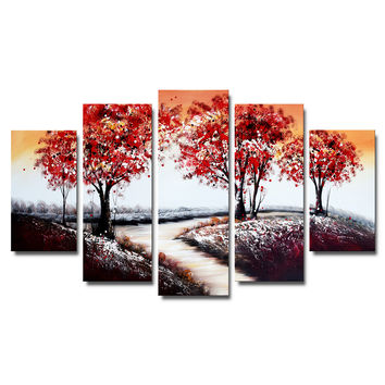 Vibrant Red Forest Landscape Canvas Wall Art Oil Painting