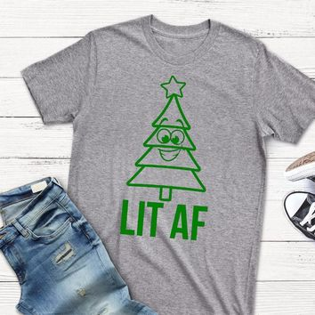 Lit AF Christmas Shirt funny tree graphic women fashion grunge tumblr gray tee camisetas cute gift for family aesthetic tee tops