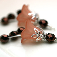 2 Piece Light Mocha Brown Lucite Flower with Czech Copper Faceted Beads Drop Dangle Set