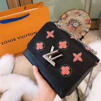 LV 2018 new printed flower small square bag water ripple chain bag shoulder bag