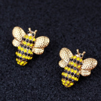 New fashion diamond bee alloy earring women Golden
