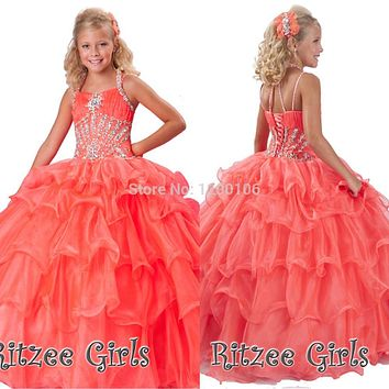 2016 Tiered Princess Ruffled Rhinestone Beaded Little Girl Pageant Dress
