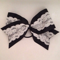 "Large 3"" Cheer Bow (Black, white lace)"