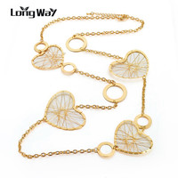 LongWay Love Brand Heart Jewelry Fashion Rose Gold Silver Chain Necklace For Women Long Necklace Colar Feminino Sne160126