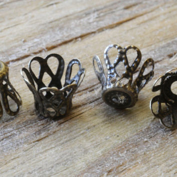 Antique Bronze Finish Filigree Bead Caps 20pcs Jewellery Findings Jewellery Making diyforstyle