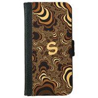 Cool brown stripped fractal. Monogram. iPhone 6/6s Wallet Case