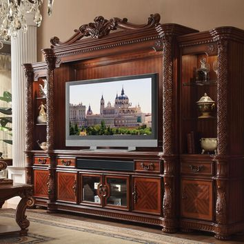 4 pc Vendome II collection cherry finish wood entertainment center wall unit
