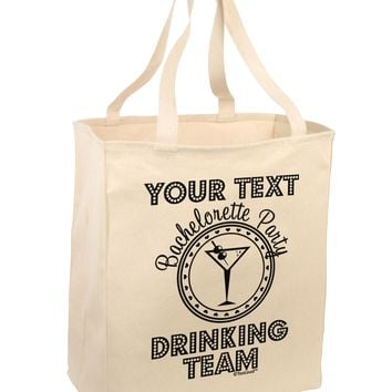 Personalized -Name- Bachelorette Party Drinking Team Large Grocery Tote Bag