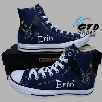 Hand Painted Converse. How to train your dragon 2, Bewilderbeast, Toothless, Hiccup. Custom Name. Handpainted shoes