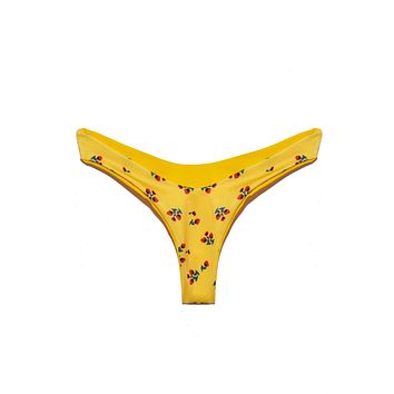 Bella Thong Bikini Bottom - Yellow Rose Bud Print