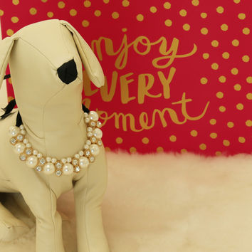 Dog jewelry- Pet accessories, Dog lovers, Rhinestone and pearls, dog birthday gift, Christmas gift, Dog beaded Necklace