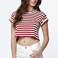 LunaChix Cropped Stripe Rib Roll Crew T-Shirt at PacSun.com