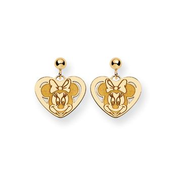 Disney's Minnie Mouse Heart Post Earrings in 14k Gold