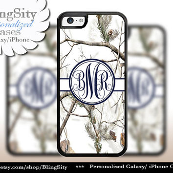 Snow Camo Navy Monogram iPhone 5C 6 Plus Case iPhone 5s 4 Cover Ipod White Realtree Personalized Country Inspired Girl