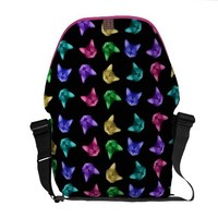 Colorful Cats On Black Rickshaw Messenger Bag from Zazzle.com