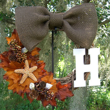 Autumn Personalized Wreath-AUTUMN BEACH-Autumn Decor, Rustic Fall Decor, Starfish, Housewarming, Hostess Gift, Beach Wreath, Beach Home