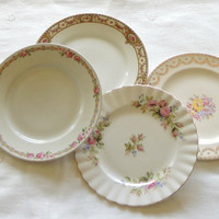 Mismatched Vintage Plates for Wedding, Set of 4, Dessert Plates, Bread and Butter, Bridesmaid Luncheon, Tea Party