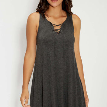 heathered tank dress with lace up v-neckline | maurices
